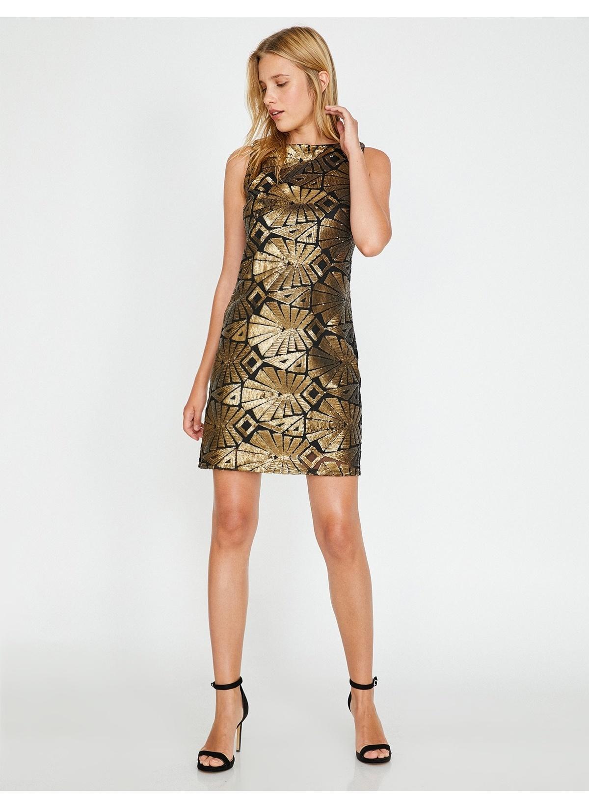 d7c91c5d6bdce Koton Kadın Kısa Abiye Elbise Altın Desenli | Morhipo | 21746505